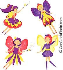 Beautiful flying fairy set. Winged Elf princesses. Cartoon style