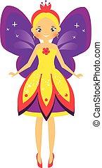 Beautiful flying fairy with purple wings. Elf princess. Cartoon style