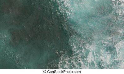 Beautiful foam and water surface turquoise color, aerial view. Tenerife, Canary Islands