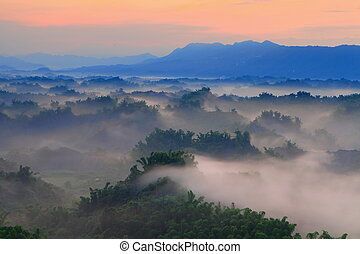 Beautiful fog with mountains
