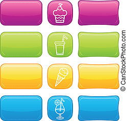 Beautiful Food icon set buttons.