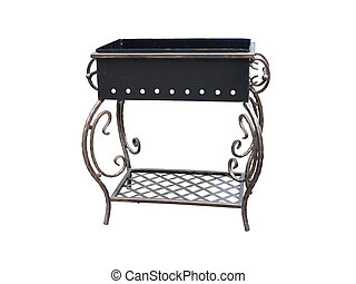 Beautiful forged metall barbecue grill on white background