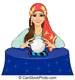 Beautiful fortune teller woman reading future on magical crystal ball