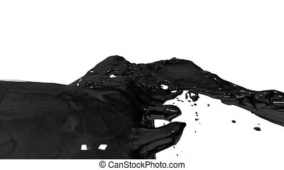Beautiful fountain black liquid like oil splash, fountain 3d on white background with alpha matte. Paint stream is rising high. 3d with very high detail. Version 11