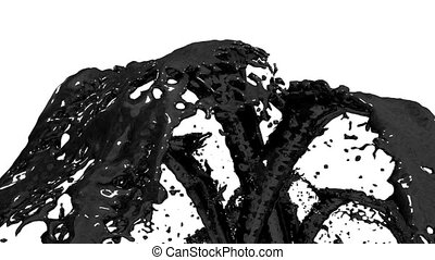 Beautiful fountain black liquid like oil splash, fountain 3d on white background with alpha matte. Many paint streams rising high. 3d with very high detail. Version 3