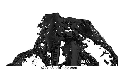 Beautiful fountain black liquid like oil splash, fountain 3d on white background with alpha matte. Many paint streams rising high. 3d with very high detail. Version 6