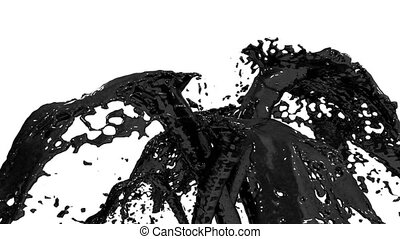 Beautiful fountain black liquid like oil splash, fountain 3d on white background with alpha matte. Many paint streams rising high. 3d with very high detail. Version 2