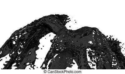 Beautiful fountain black liquid like oil splash, fountain 3d on white background with alpha matte. Many paint streams rising high. 3d with very high detail. Version 4
