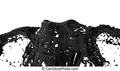 Beautiful fountain black liquid like oil splash, fountain 3d on white background with alpha matte. Many paint streams rising high. 3d with very high detail. Version 9