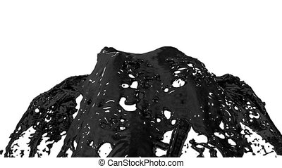 Beautiful fountain black liquid like oil splash, fountain 3d on white background with alpha matte. Many paint streams rising high. 3d with very high detail. Version 8
