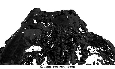 Beautiful fountain black liquid like oil splash, fountain 3d on white background with alpha matte. Many paint streams rising high. 3d with very high detail. Version 1