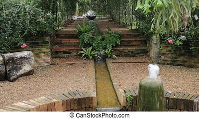 Beautiful fountain decorated in the garden