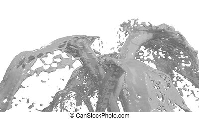 Beautiful fountain grey liquid splash, fountain 3d on white background with alpha matte. Many paint streams rising high. 3d with very high detail. Version 2