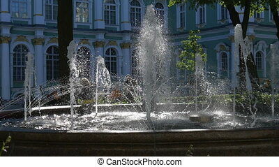 Beautiful fountain in city park.