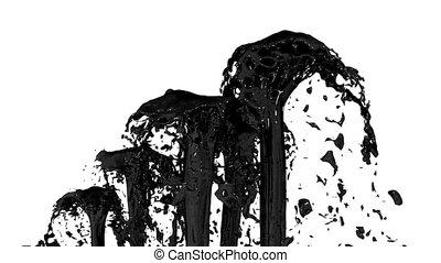 Beautiful fountain spray liquid like black paint or oil, fountain with many liquid streams rising high. 3d render with very high detail. Alpha channel is included use alpha . Version 4