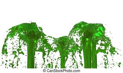 Beautiful fountain spray liquid like green juice, fountain with many liquid streams rising high. 3d render with very high detail. Alpha channel is included use alpha mask. Version 6