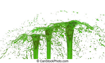 Beautiful fountain spray liquid like green juice. 3d on white background with alpha channel use alpha mask. Top of a fountain with vortex liquid. Version 24