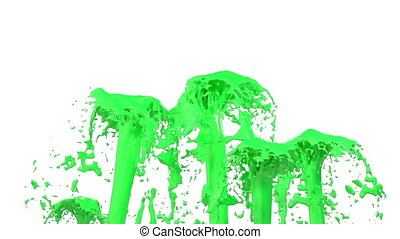 Beautiful fountain spray liquid like green paint, fountain with many liquid streams rising high. 3d render with very high detail. Alpha channel is included use alpha mask . Version 5