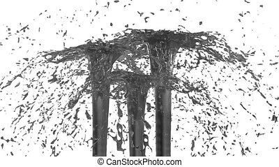 Beautiful fountain spray liquid like grey juice. 3d on white...