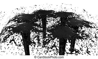 Beautiful fountain spray liquid like black paint. 3d on white background with alpha channel use alpha mask. Top of a fountain with vortex liquid. Version 5