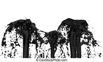 Beautiful fountain spray liquid like black paint or oil,...