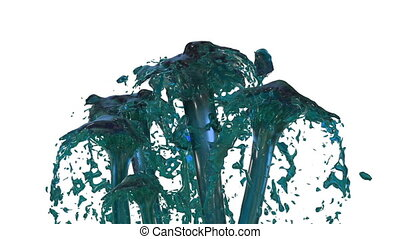 Beautiful fountain spray liquid like blue juice, fountain with many liquid streams rising high. 3d render with very high detail. Alpha channel is included use alpha mask. Version 3