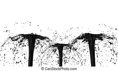 Beautiful fountain spray liquid like black paint. 3d on white background with alpha channel use alpha mask. Top of a fountain with vortex liquid. Version 9