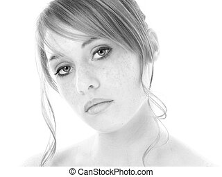 Beautiful Fourteen Year Old Girl in Black and White. Shot in...