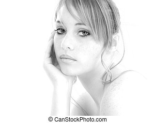 Beautiful Fourteen Year Old Girl in Black and White -...