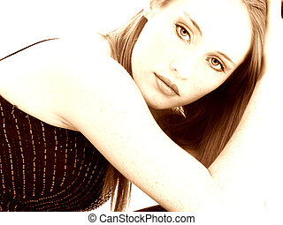 Close up of beautiful 14 year old girl in sepia