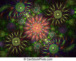 Beautiful fractal floral art. Computer generated graphics. Abstract floral fractal background for art projects. Colourful Julia Fractal Art.