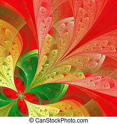 Beautiful fractal flower in green and red. Computer...