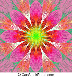 Beautiful fractal flower in pink, red and yellow. Computer gener