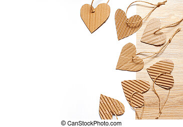beautiful frame of hearts of kraft paper and place for text. Concept of Valentine Day