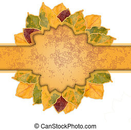 Beautiful frame of yellow and orange autumn leaves