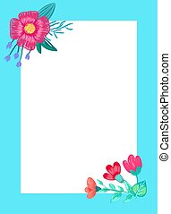 Beautiful Frame with Flowers Vector Illustration