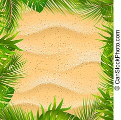 Beautiful Frame with Sandy Texture and Exotic Plants