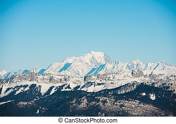 beautiful french alps winter panoramic view landscape with Mont Blanc landmark peak in background