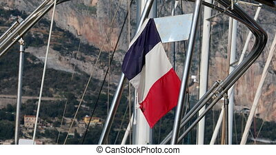 Beautiful French Flag or Tricolor Flying From The Stern of a...