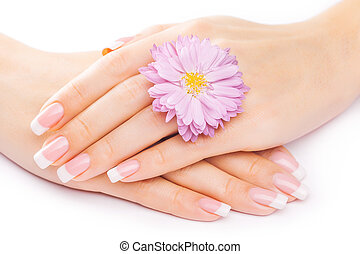 french manicure with chrysanthemum - beautiful french ...