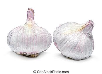 Beautiful fresh garlic. Group of objects. - Beautiful fresh...