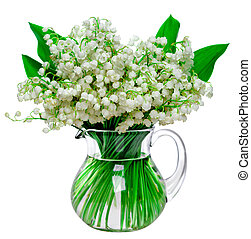 Beautiful fresh lilies of the valley in a glass jar isolated on white background