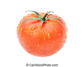 fresh tomato with water drops isolated on white background