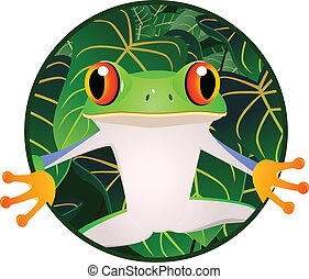 Beautiful frog - Vector illustration of Beautiful green frog