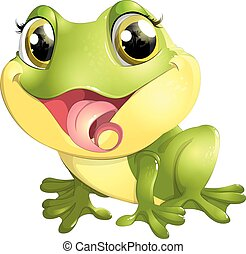 beautiful frog with big eyes on a white background