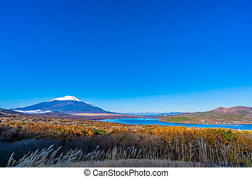 Beautiful landscape of fuji mountain in yamanakako or yamanaka lake in autumn season Japan