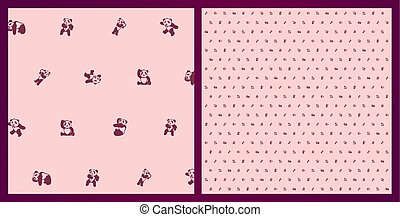 Beautiful funny pink pattern with cartoon pandas