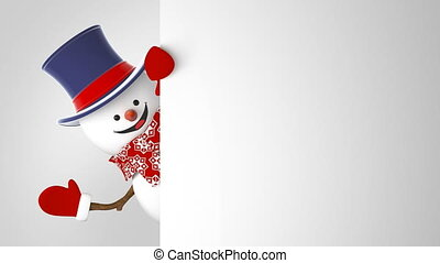 Beautiful Funny Snowman in Cylinder Hat Greeting on White Background. 3d Cartoon Animation Green Screen Alpha Mask. Animated Greeting Card. New Year Concept. Last Frames Looped 4k Ultra HD 3840x2160.
