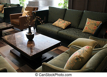 A living room in an elegant home