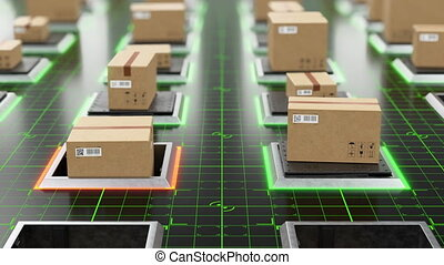 Beautiful Futuristic High-tech Warehouse Parcels Rising on...